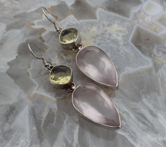 Vintage Rose Quartz & Lemon quartz Earrings Gemstone Dangle and Drop
