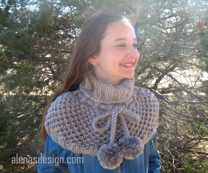 Knitting Pattern 215 Kate Pompom Cowl Wrap Cowl Neck Shoulder Warmer Toddler