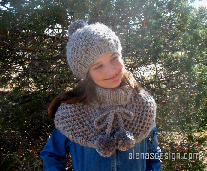 Knitting Pattern Set Kate Slouchy Hat Pompom Cowl Wrap Cowl Neck Shoulder Warmer