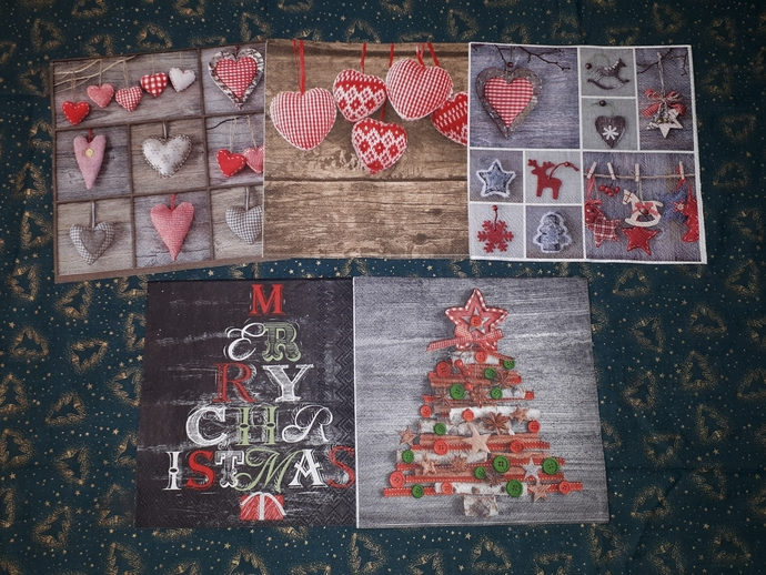 NP001 Paper Napkins Christmas  folk art  hearts  wooden  red