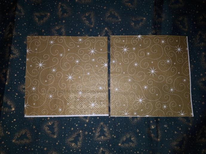 N102 Paper Napkins (Pack of 2) Christmas Gold Swirls, Gold Stars, Elegant