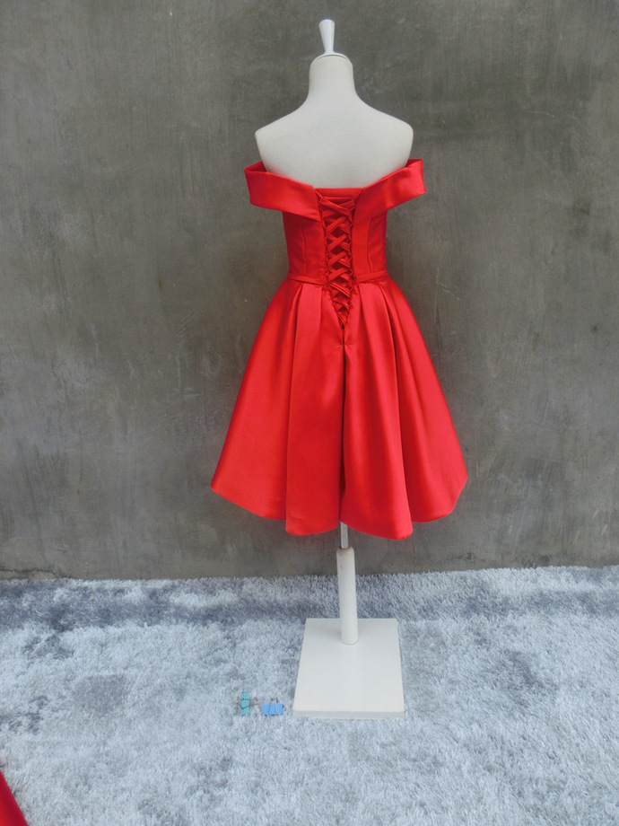 Red Short Satin Party Dress, Beautiful Short Homecoming Dress, Lovely Formal