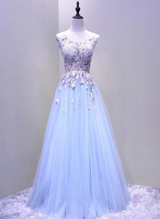 Light Blue Beaded Round Neckline Tulle Formal Gown, Charming Party Dress