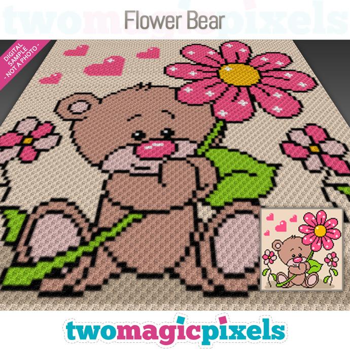 Flower Bear graph for crochet (C2C, Mini C2C, SC, HDC, DC, TSS), cross stitch,