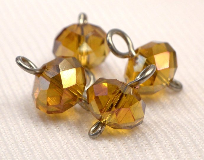 Amber Crystal Charm Dangles, Crystal Jewelry Charm Supplies, Honey Sparkle Add