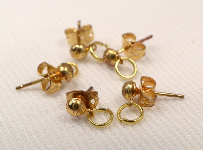 Gold Half Ball With Loop & Jump Ring Earring Studs, Jewelry Making Earring