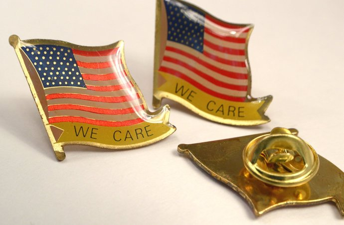 American USA Flag Pins, Vintage Gold We Care Brooch, Gold Patriotic Red White