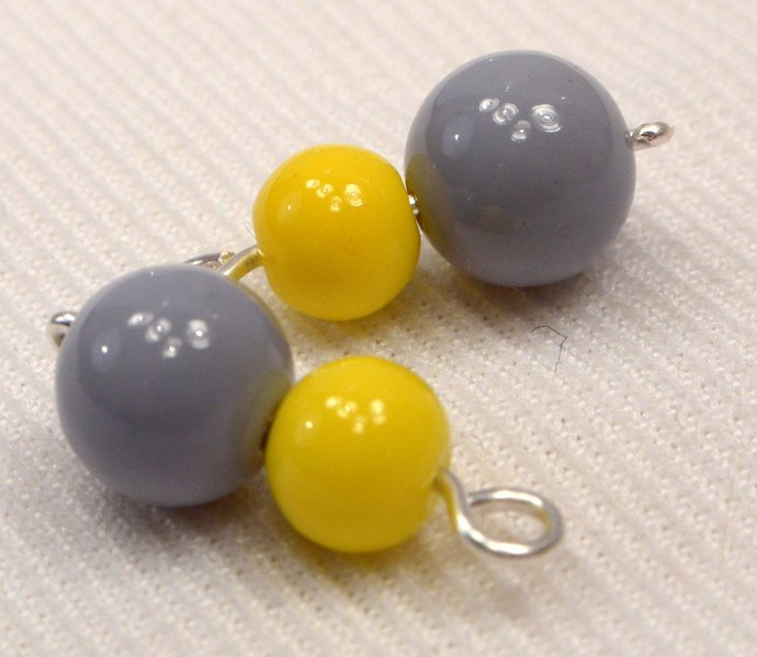 Grey & Yellow Bead Charm Dangles, Loose Add On Jewelry Charms, Charms For