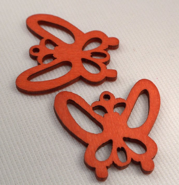 Red Wood Butterfly Pendant, Loose Red Butterfly Charm, Jewelry Making Supply,