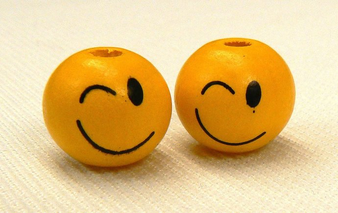 Winking Smile Face Emoticon Yellow Wood Beads, 3 Loose Yellow Wink & Smile Wood