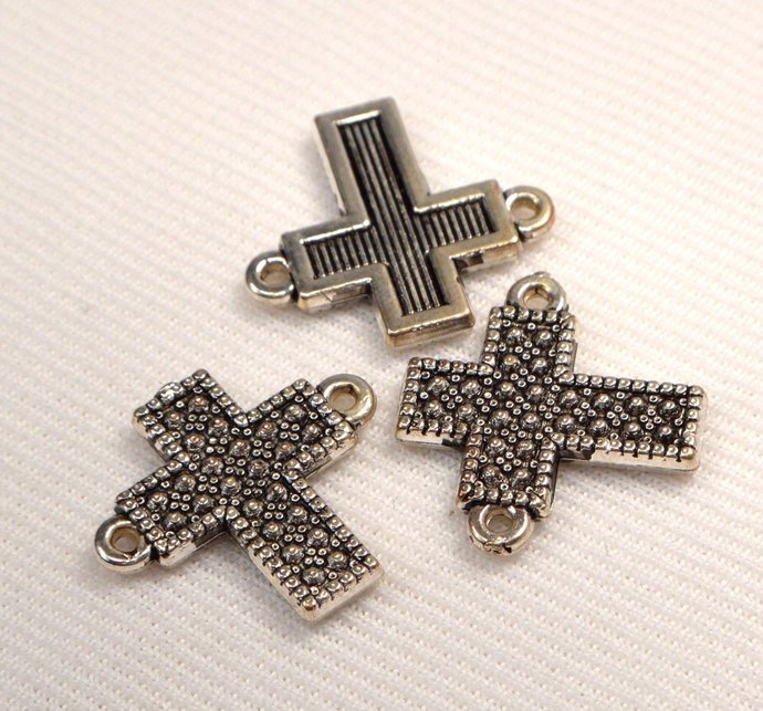 Two Sided Antique Silver Cross Connectors, Loose Cross Connector Links, Jewelry