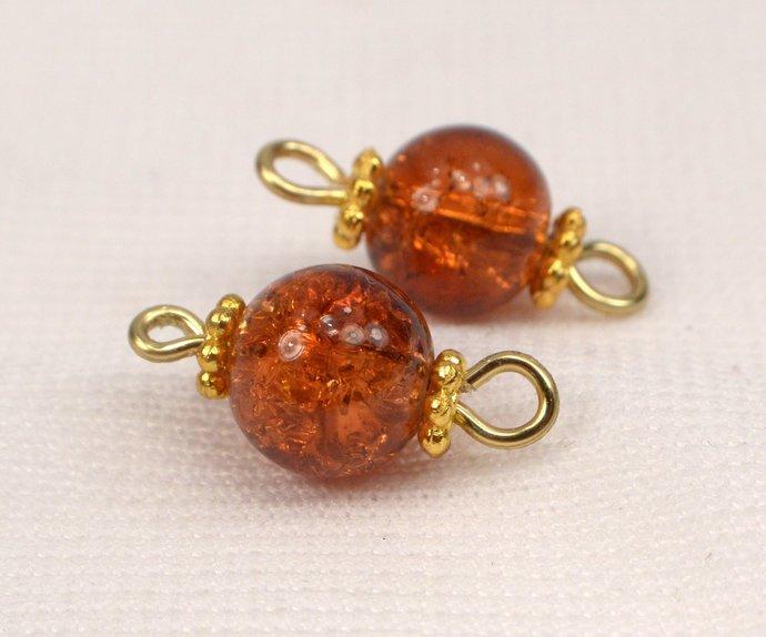Dark Orange Crackle Bead Connectors, Orange Jewelry Links, Loose Orange Crackle