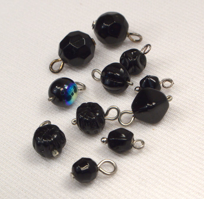Black Vintage Bead Charms, 11 Loose Black Charms, DIY Personalize Jewelry