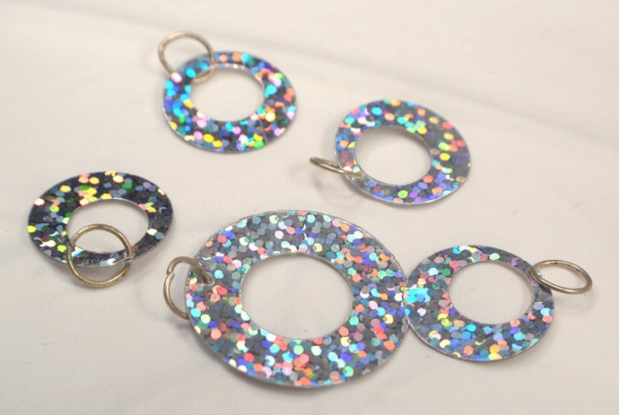 5 Silver Sequin Circle Charm Dangles, Jewelry Charm Supplies, Sparkly Vintage