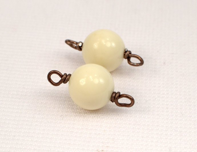 Vintage Ivory Bead Bronze Wire Wrapped Connectors, Brown & Ivory Link