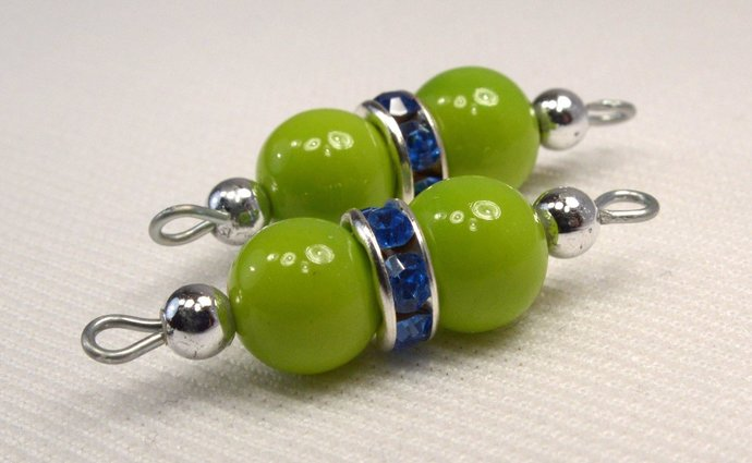 Lime Green Bead Blue Crystal Connector, Green Bead Jewelry Supplies, Add On Link