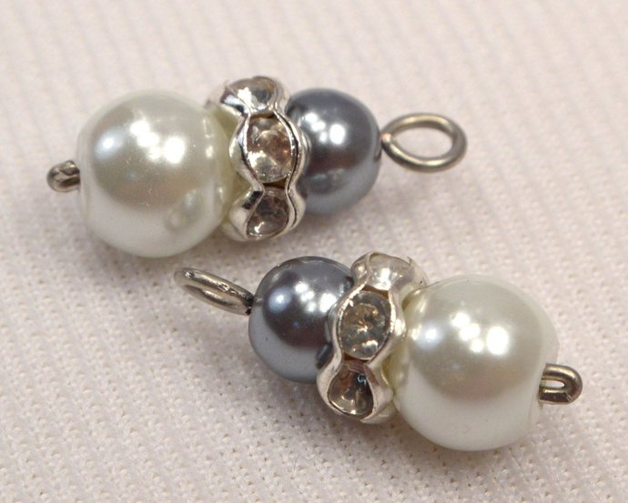 White And Grey Pearl Bead Charms, Loose Pearl Charms, Gray & White Pearls With