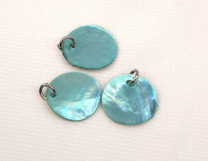 Turquoise Mother Of Pearl Shell Charm, Loose Jewelry Shell Charms, Light Blue