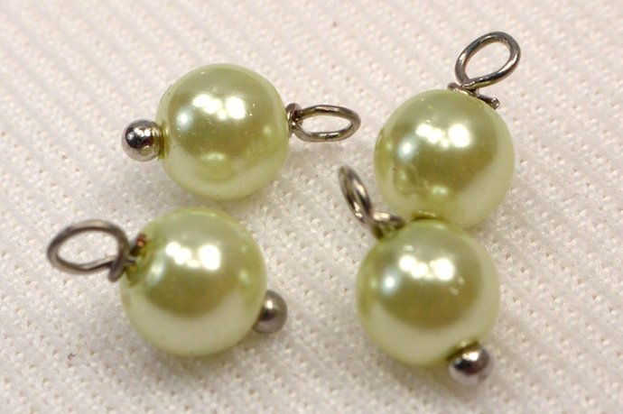 Lime Green Glass Pearl Charm Dangles, Wire Wrapped Light Green Jewelry Charm