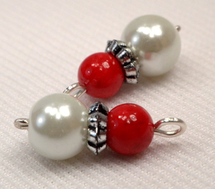 White Pearl Bead And Red Jasper Stone Handmade Charms, Red And White Charms,