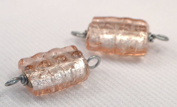 Pink Connector, Wire Wrapped Vintage Pink Bead Jewelry Link, Loose Pink