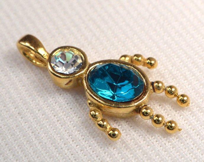 Vintage Blue Zircon Crystal Gold Charm, Blue Crystal December Birthstone Child