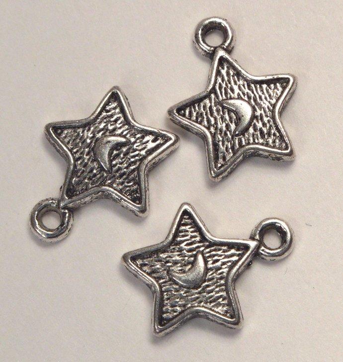Star Charms, 2 Loose Vintage Metal Star & Moon Charms, Jewelry Making Metal