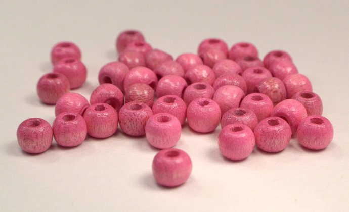 Pink Wood Beads, 20 Eco Friendly Wood Beads, Beads For Jewelry Making, Vintage