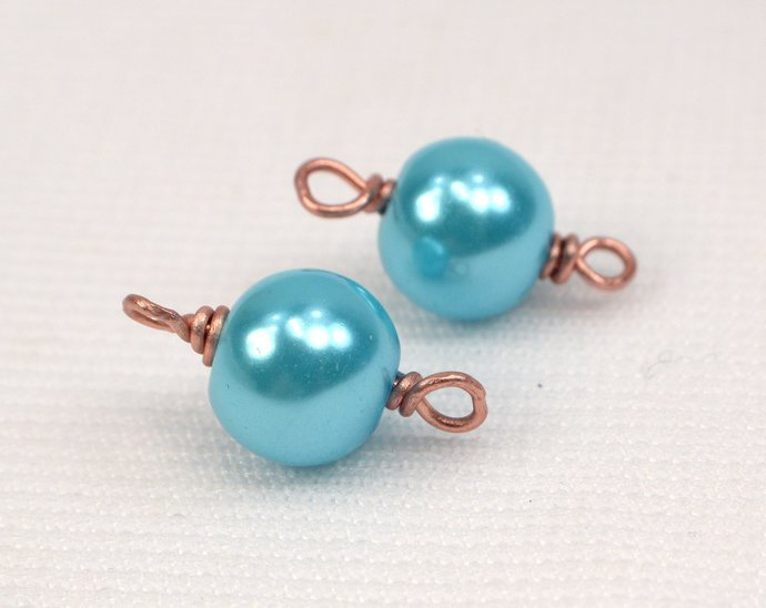 Turquoise Pearl Connector, Copper Wire Wrapped Turquoise Links, Add On