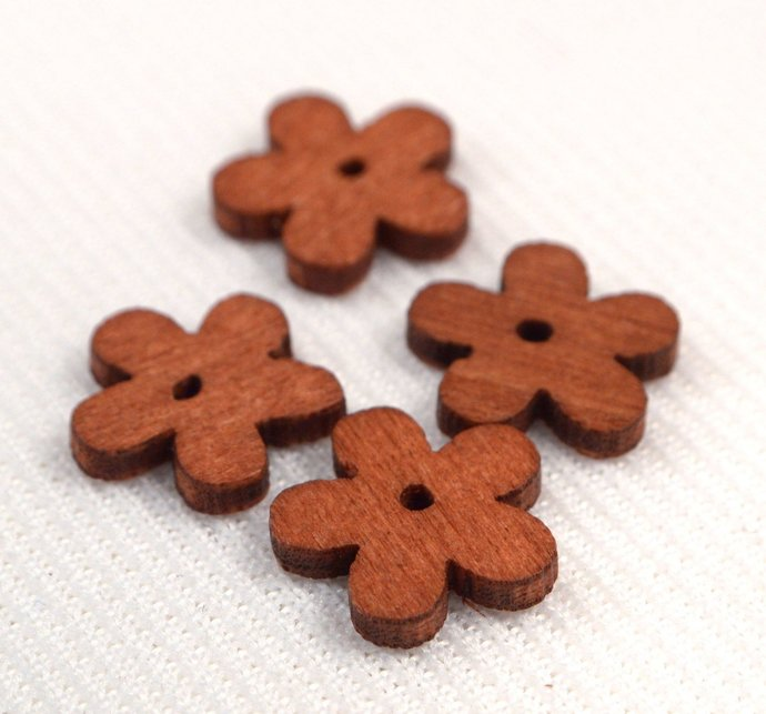 Wood Flower Beads, 10 Loose Red Brown Flower Wood Beads, Jewelry Making