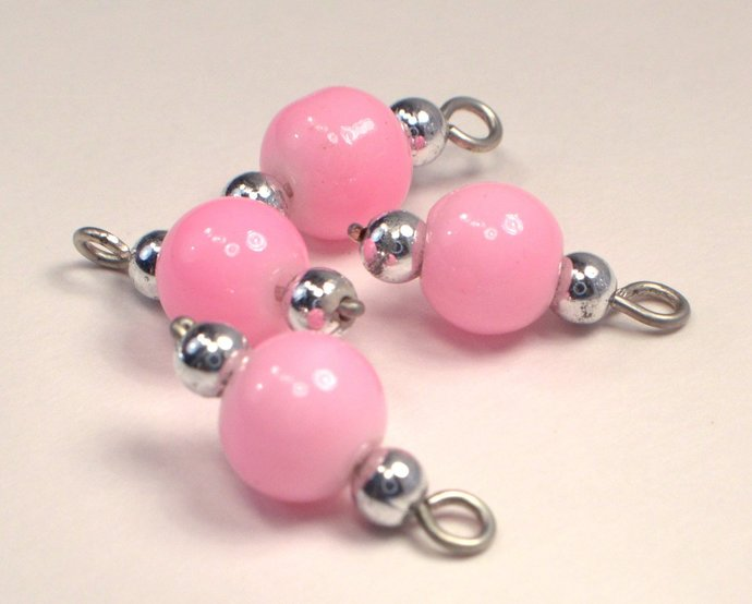 Pink Bead Charms, Loose Pink & Silver Bead Charms, Vintage Pink Add On Charm,