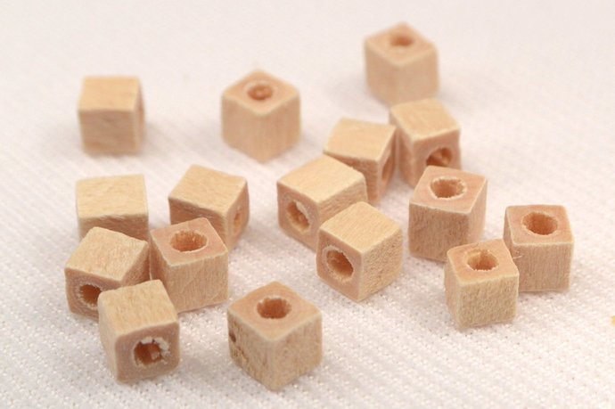 Square Wood Beads, 10 Loose Wood Beads, Cube Wood Beads, Craft Supplies, Light