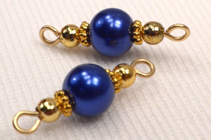 Navy Blue Pearl Connectors, Blue & Gold Bead Jewelry Link Connectors, Add On