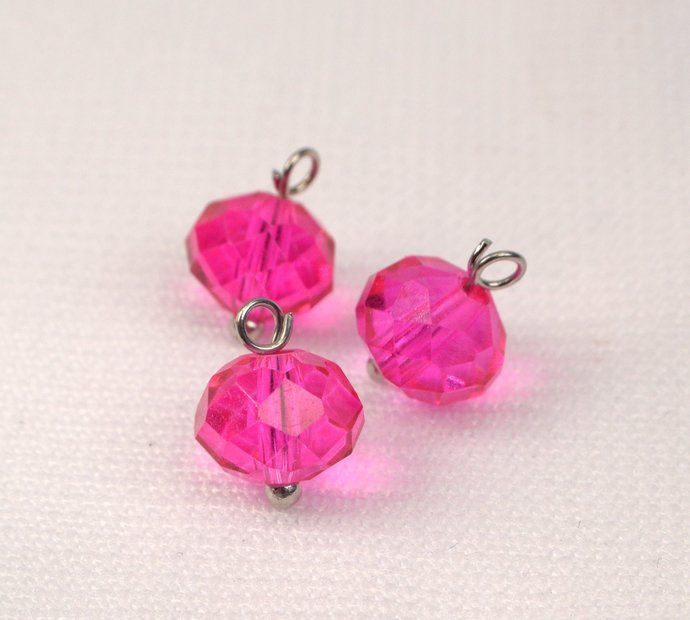 Fuchsia Pink Crystal Charm Dangles, Loose Hot Pink Charms, Bold Pink Sparkle