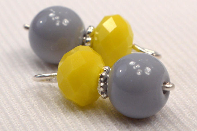 Grey & Yellow Bead Charm Dangles, Crystal Jewelry Charms, Add on Charm, Jewelry