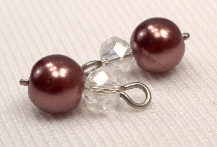 Brown Pearl And Crystal Charm Dangles, Pearl Jewelry Charms, Add On Chocolate