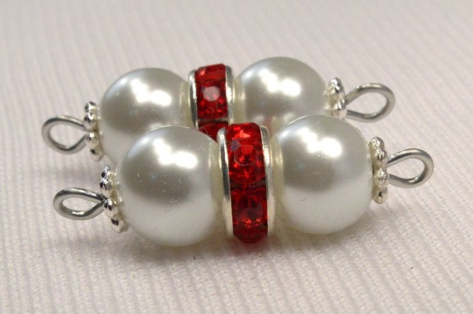 White Pearl & Red Crystal Connector, Pearl and Crystal Jewelry Supplies, White