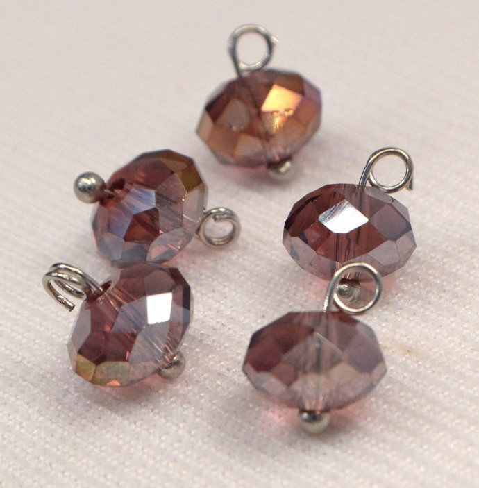 Amethyst Purple Crystal Charm Dangle, Purple Crystal Jewelry Charm Supplies, Add