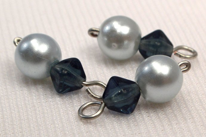 Pale Blue Pearl And Blue Glass Bead Charms, Light Baby Blue Charm Supplies,
