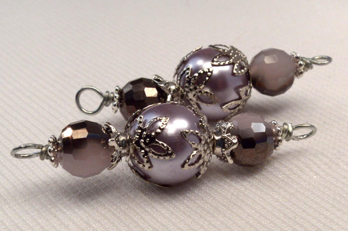Purple Pearl & Crystal Bead Connector, Jewelry Making Link Supplies,Loose Wire