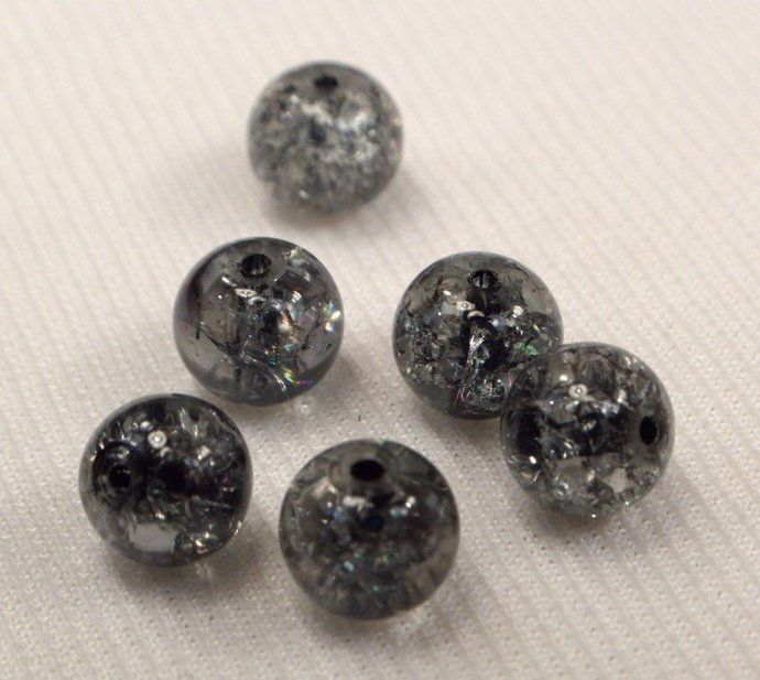 Black Crackle Beads, Black Beads, Beads For Jewelry Making, 8 Loose Black