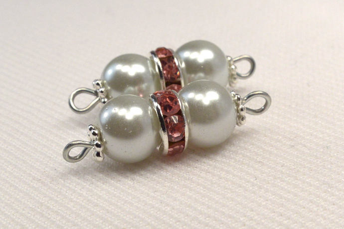 Silver Pearl & Pink Crystal Connectors, Pearl and Crystal Jewelry Supplies,