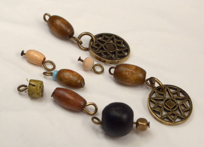 Mix Wood Charms, Antique Bronze Charm Dangles,  DIY Jewelry Supply, 8 Loose Mix