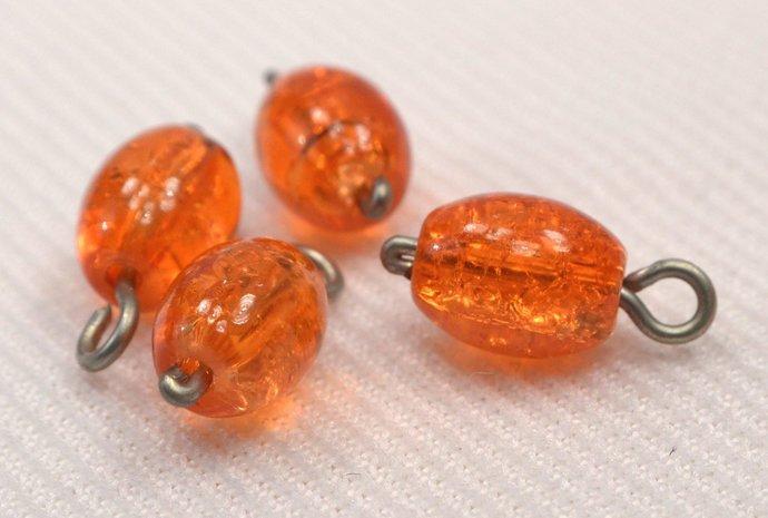 Orange Crackle Bead Charm Dangles, Orange Jewelry Charms, Orange Crackle Charms,