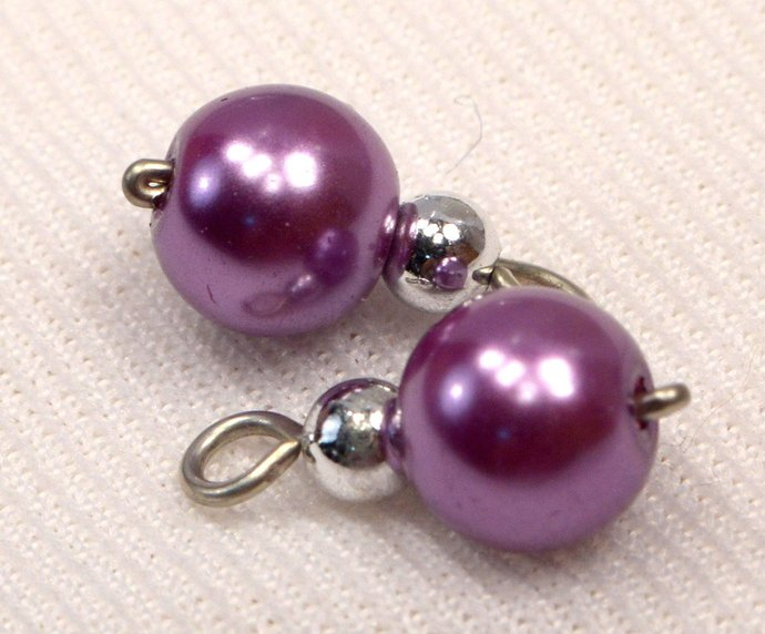 Lavender Pearl Charms, Pearl Jewelry Charms, Loose Purple Pearl & Silver Charms,