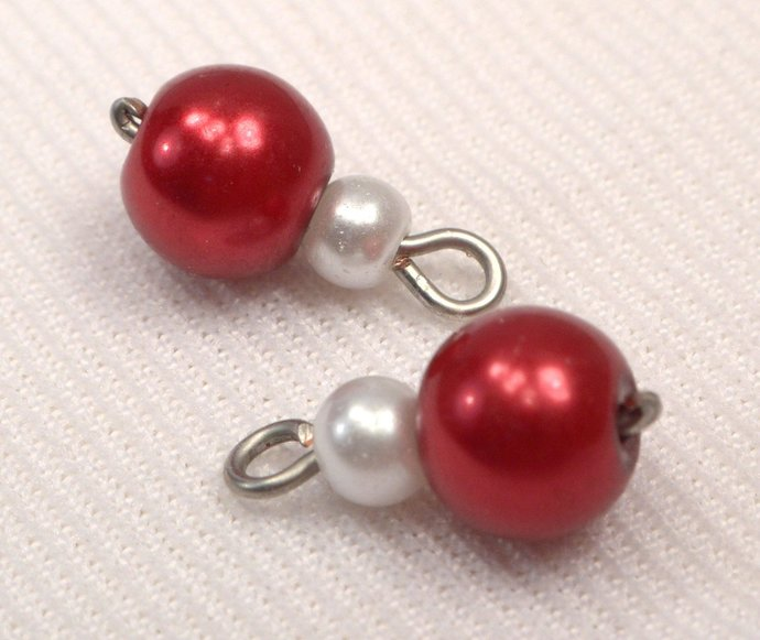 Red Pearl Charm Dangles, Pearl Jewelry Charms, Loose Red & White Pearl Charms,