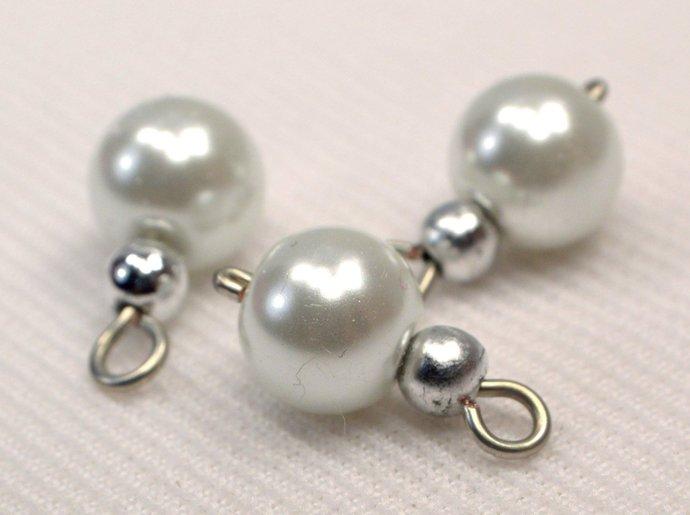 White Pearl Bead Handmade Charms, Silver Beaded Charm Supplies, White Glass