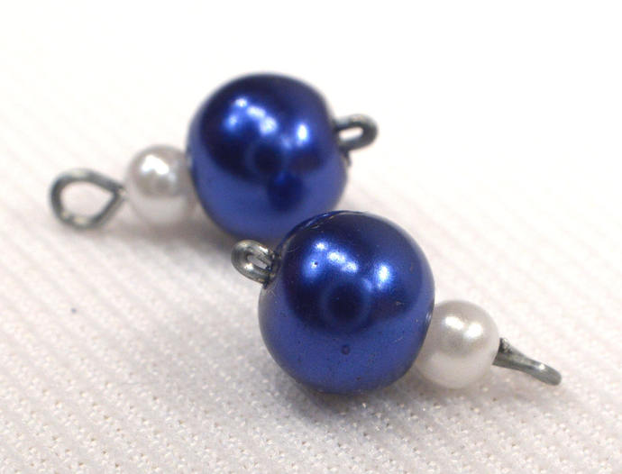 Navy Blue Pearl Charm Dangles, Pearl Jewelry Charms, Loose Blue & White Pearl