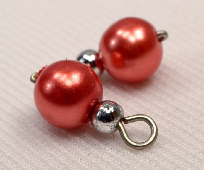 Red Orange Pearl Charm Dangles, Pearl Jewelry Charm, Red Orange Pearl Silver