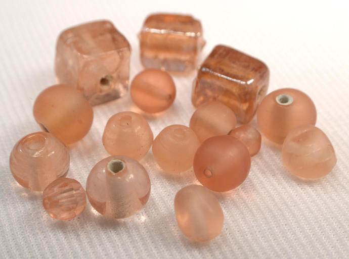 Rosy Champagne Glass Beads, 15 Loose Glass and Resin Beads, Light Pink Bead Mix,